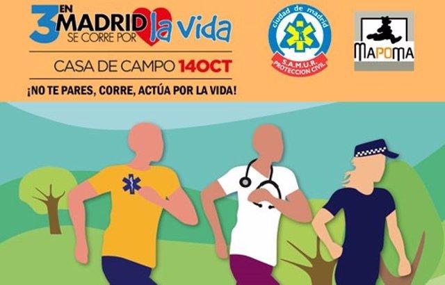 Cartel de la carrera 'En Madrid se corre por la vida'
