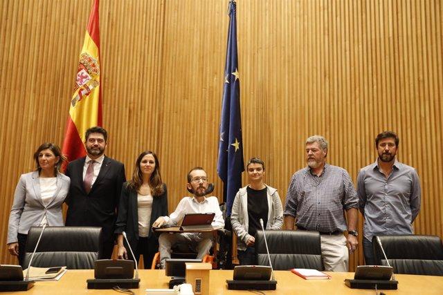 Rueda de prensa de Unidos Podemos tras el acuerdo de Presupuestos Generales del