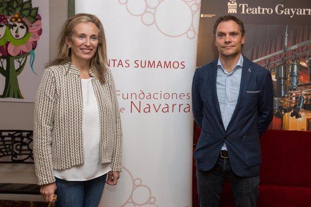 Izaskun Goñi e Iñaki Mendióroz, en la presentación de estudio sobre fundaciones.