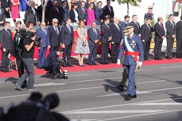 El rey Felipe VI en el desfile del 12 de octubre de 2017