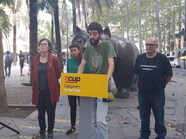Manel Zamorano, Eulàlia Reguant, Maria Rovira y Pere Casas (CUP)