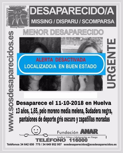 Localizada en buen estado la menor de 13 años desaparecida este jueves en Huelva capital