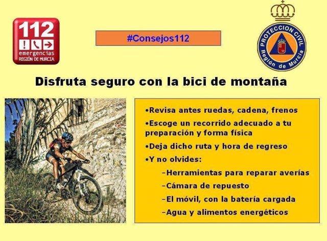 Consejos del 112 para salir en bicicleta