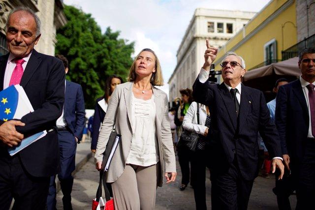 Federica Mogherini en su visita a La Habana