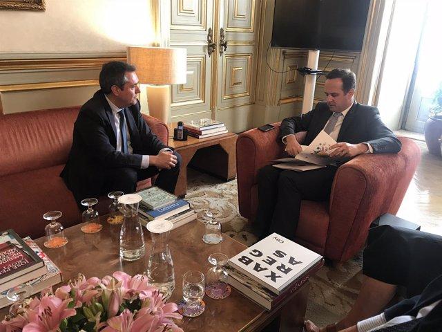 Reunión de los alcaldes de Sevilla, Juan Espadas, y Lisboa, Fernando Medina