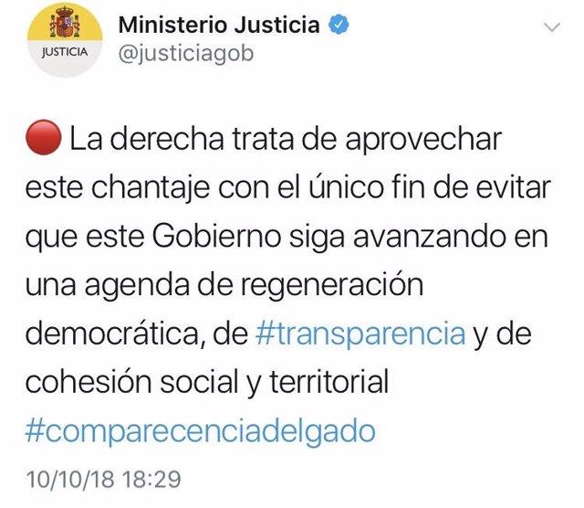 Tuits del Ministerio de Justicia