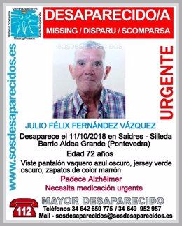 Julio Félix Fernández, desaparecido en Silleda