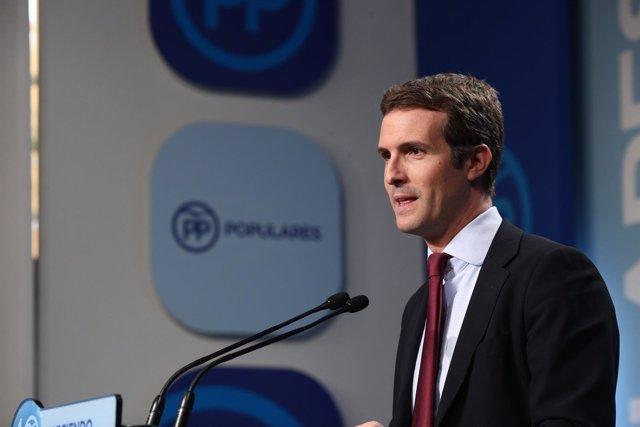 Rueda de prensa de Pablo Casado tras el Comité de Dirección del PP