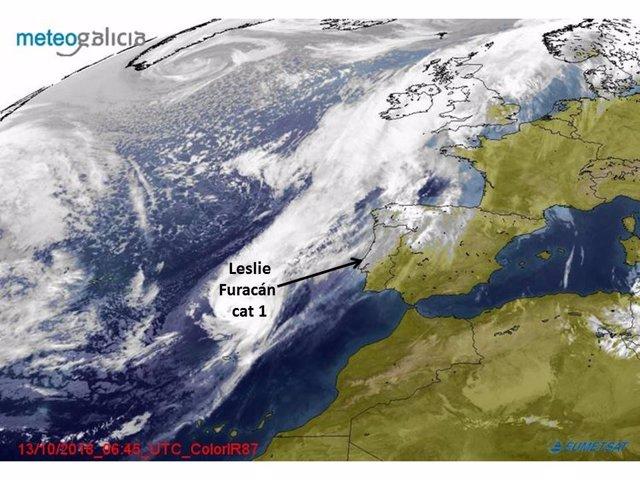 Situación del huracán Leslie, según Meteogalicia