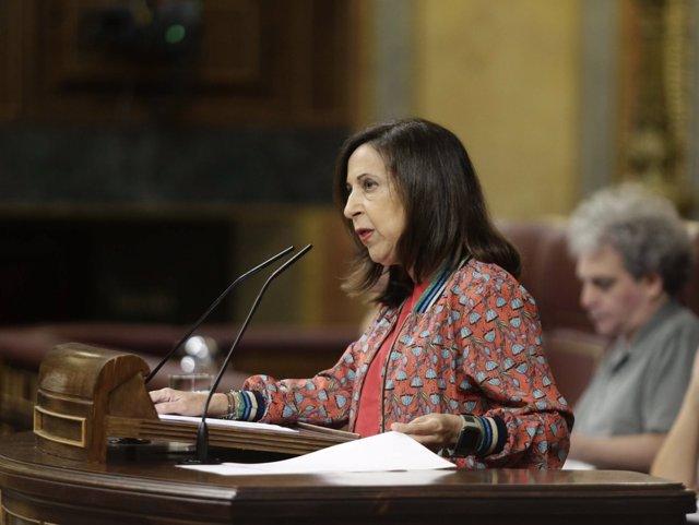 La ministra de Defensa, Margarita Robles, en el Pleno del Congreso
