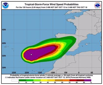 El huracán Leslie entrará de madrugada en España con intensidad de tormenta tropical