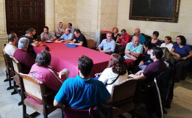 Rojas en la reunión con empleados