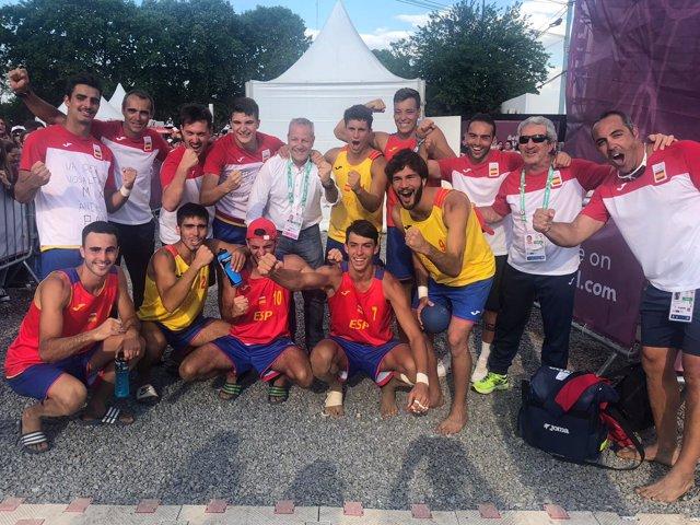 Selección española masculina balonmano playa Hispanos Juveniles Juegos Juventud