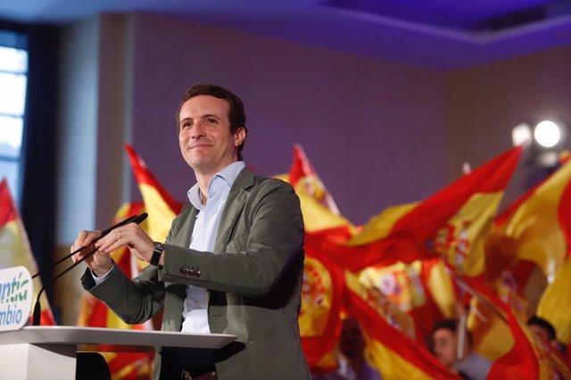 El presidente del PP, Pablo Casado, en un acto en Málaga