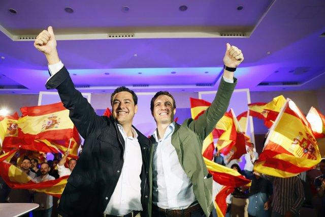 Juanma Moreno y Pablo Casado, en un acto del PP en Málaga.