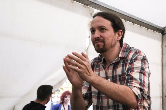 Pablo Iglesias en una charla en Madrid
