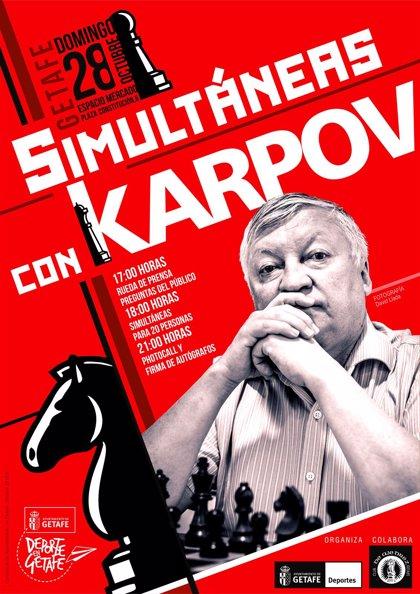 Kárpov disputará el 28 de octubre partidas simultáneas con 20jugadores de la Escuela de Ajedrez