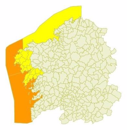 Las provincias de A Coruña y Pontevedra, en alerta este lunes por lluvia, viento y fuerte oleaje
