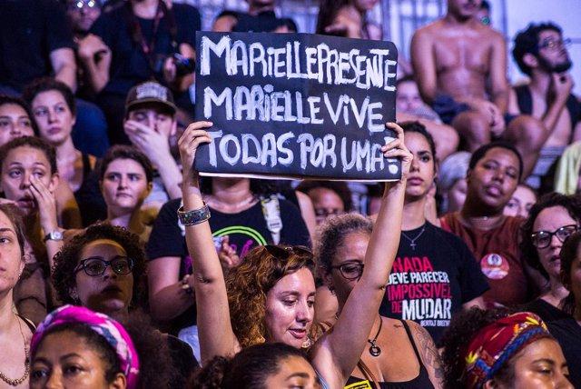 Manifestación tras la muerte de Marielle Franco