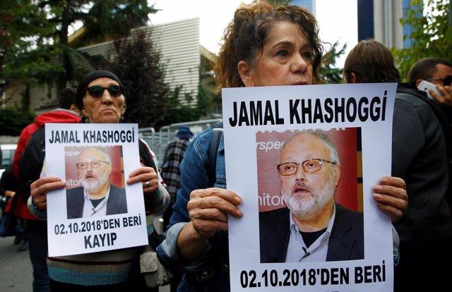 Protesta por la desaparición del periodista Yamal Jashogi