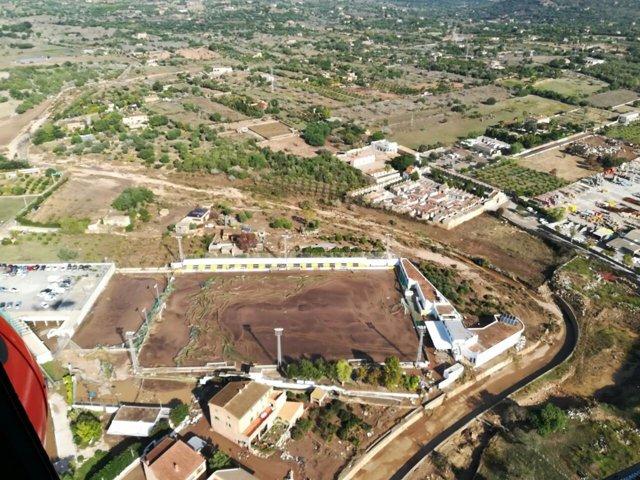 Campo de fútbol Sant Llorenç tras las inundaciones