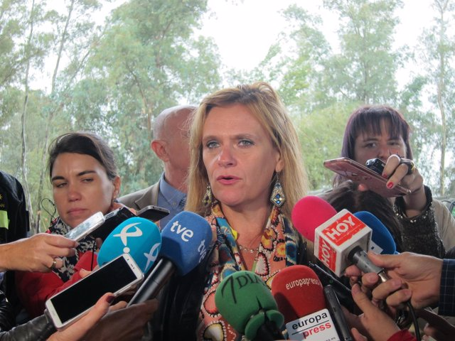 La delegada del Gobierno hoy atendiendo a los medios