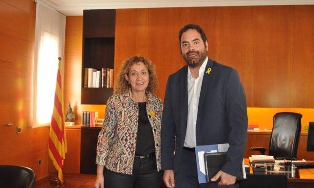El presidente del ACM David Saldoni, y la Consellera de Justicia Ester Capella.