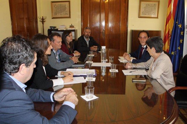 Teresa Cunillera y José Crespín con representantes del Consorcio Segre-Rialb