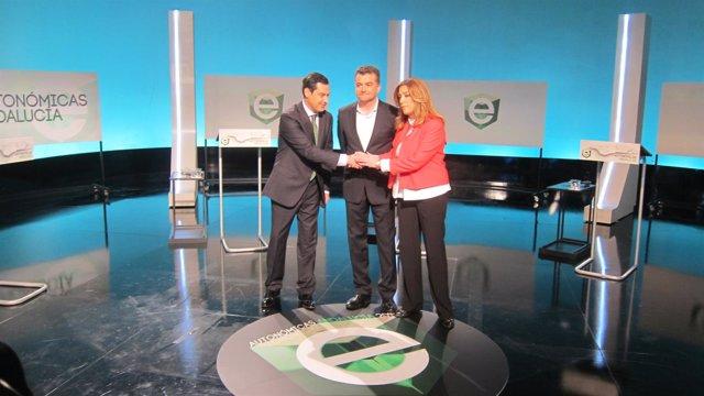Moreno, Maíllo y Susana Díaz antes del debate en RTVE en 2015