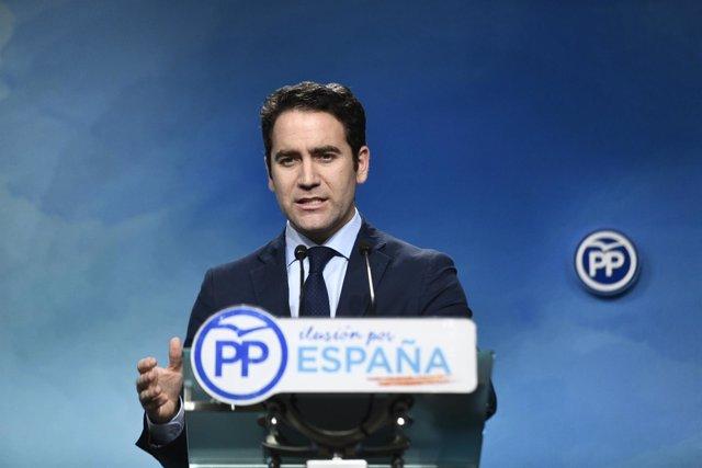 Rueda de prensa de Teodoro García Egea, secretario general del Partido Popular