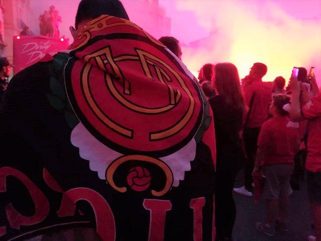 Un aficionado del RCD Mallorca con la bandera del club celebra el ascenso