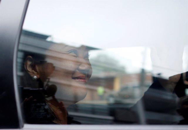 Peruvian presidential candidate Keiko Fujimori leaves her house in Lima, Peru, J