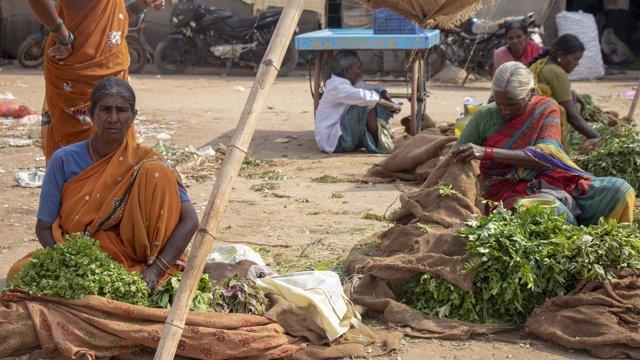 Mujeres venden verduras en India