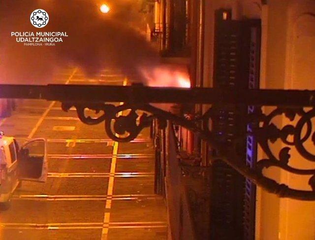 Incendio en una vivienda de la calle Mayor de Pamplona