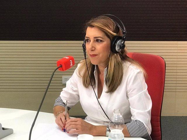Susana Díaz, presidenta de la Junta, en una entrevista radiofónica