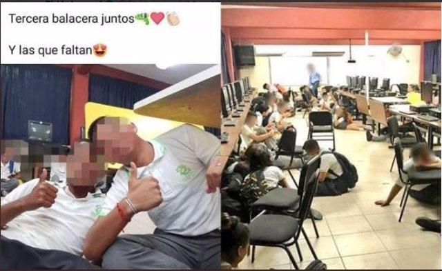 """Alumnos cuelgan foto en redes sociales durante tiroteo """"tercera balacera juntos"""""""