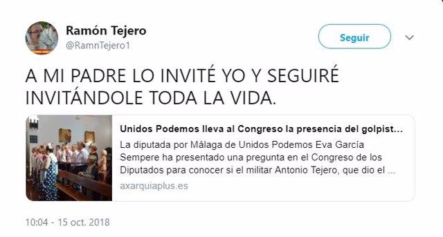 Imagen del tweet del hijo de Antonio Tejero