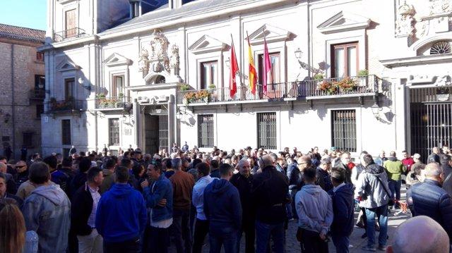 Concentración de delegados sindicales de la Policía Municipal de Madrid