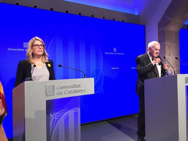 La portavoz del Govern, E.Artadi, y el conseller de Exteriores, E.Maragall