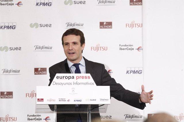 Pablo Casado, presidente del PP, protagoniza el Desayuno Informativo de Europa P