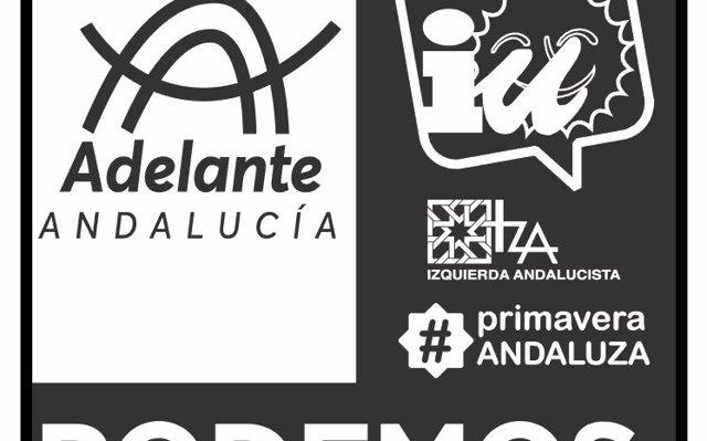 La papeleta de Adelante Andalucía para el 2D recoge el logo de las cuatro fuerzas y el nombre de la confluencia