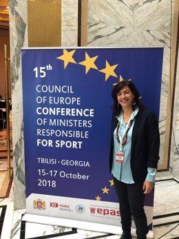 María José Rienda, presidenta del CSD, en la Conferencia del Deporte en Georgia