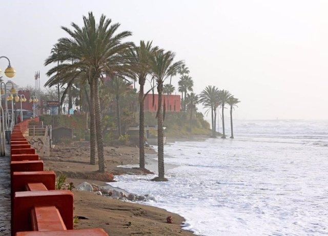 Temporal playas daños costas municipio levantre málaga benalmádena