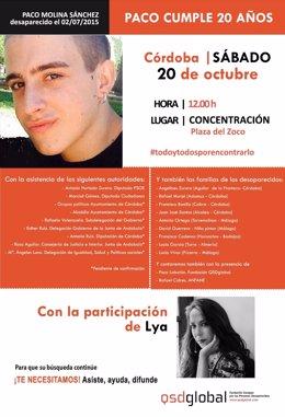 Cartel de la concentración por el 20 cumpleaños del desaparecido Paco Molina