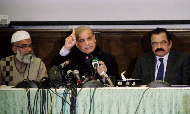 El líder de la PML-N de Pakistán, Shehbaz Sharif