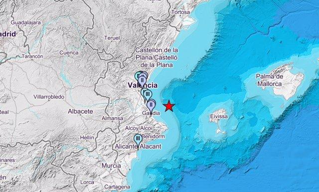 Sisme registrat aquest dimecres en el Golfo de València