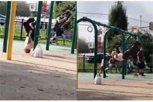 Un anciano sorprende a los cibernautas con sus magistrales acrobacias en un parque infantil