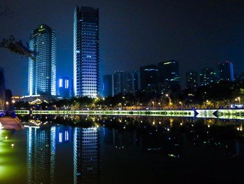 Imagen nocturna de Chengdu