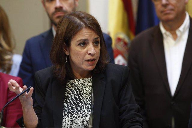 Adriana Lastra en Rueda de Prensa del PSOE en el Congreso