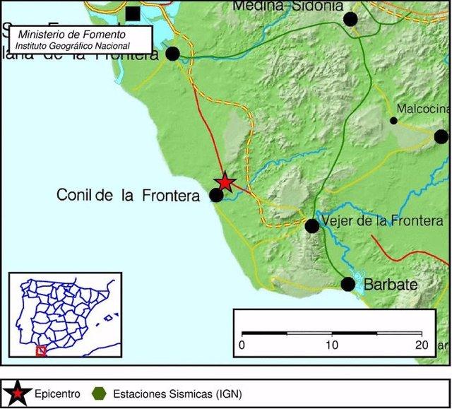 Terremoto de magnitud 4 con epicentro en Conil de la Frontera (Cádiz)